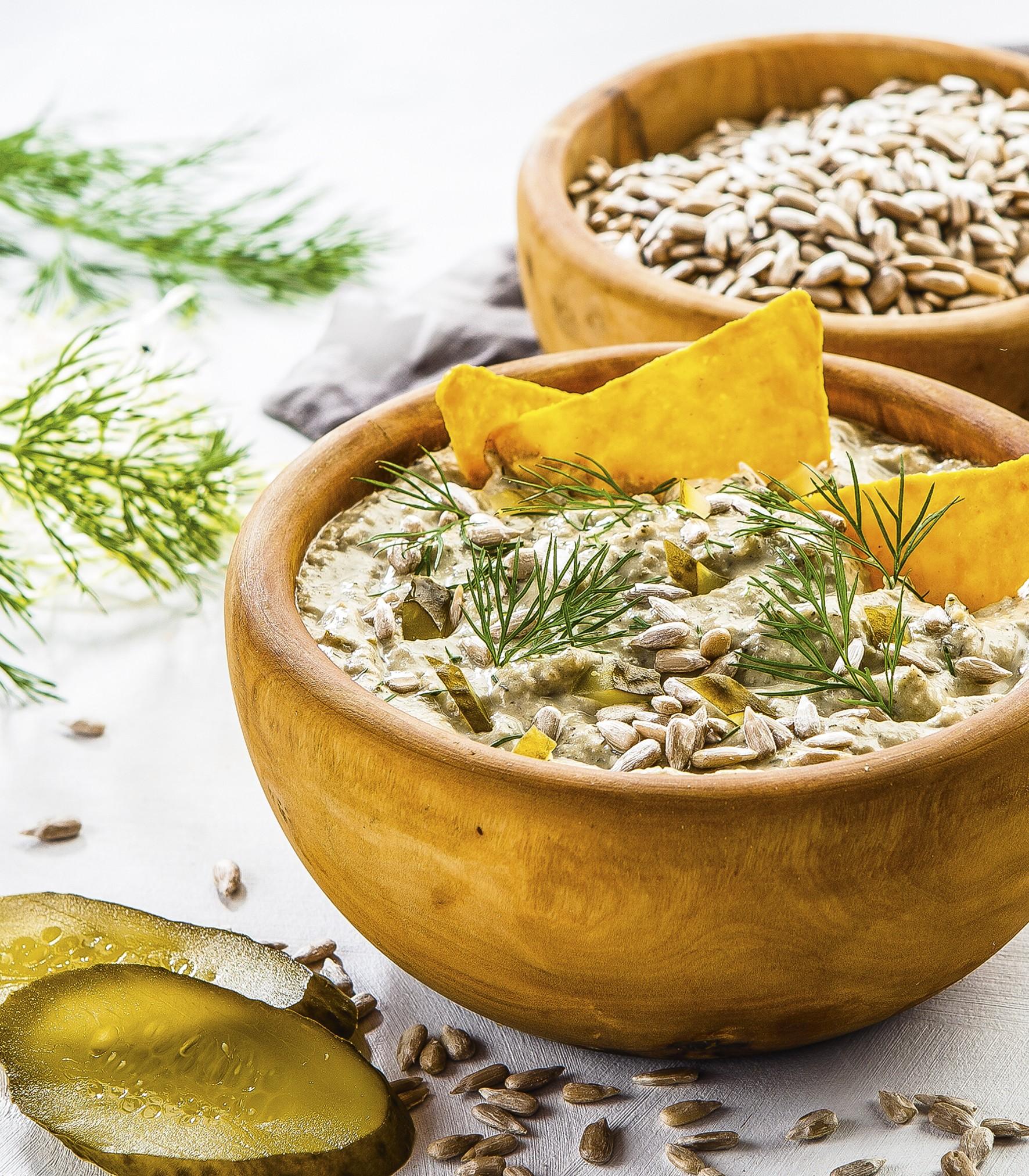 Roślinna Pasta z pestkami słonecznika, z ogórkiem i koperkiem