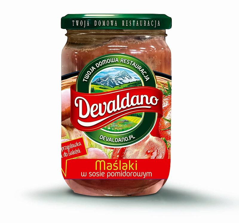 Maślaki w sosie pomidorowym